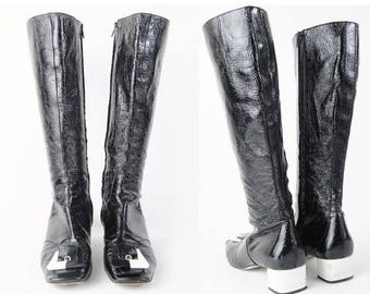 25% off Summer SALE 1990s Vintage EMILIO PUCCI Boots Mod Go Go Boots Black and White Two Tone Boots Plastic Buckle Knee High Patent Leather