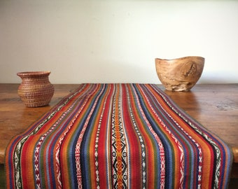 Vintage 15 x 66 Peruvian woven table runner of hand dyed Alpaca wool, fall or Christmas decor