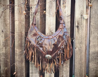 Vintage Distressed Leather Purse with Fringe from Mexico, Boho Fashion, Festival Purse