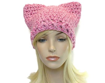 Pink Cat Hat, Chunky Hat, Cat Hat for Women, Hat with Ears, Kitty Cat Ears, Cat Hat Adult, Animal Hat for Adults, Teen Hats, Crochet Cat Hat
