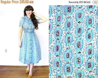 ON SALE 1950s Novelty Print Dress / 50s Dress / 1950s Blue Sheer Candy Print Dress