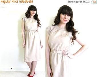 ON SALE Vintage Tan Dress / 1980s Khaki Illusion Safari Dress