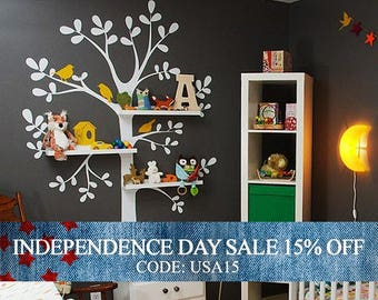 Independence Day Sale - The ORIGINAL Shelving  Tree with Birds - LARGE  Kids Vinyl Wall Sticker Decal Art