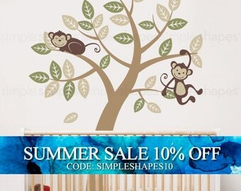 Tree with Monkeys - Kids Vinyl Wall Sticker Decal Set