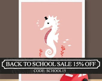 Custom Baby Print - Under The Sea - Seahorse - 8.5 x 11 inches