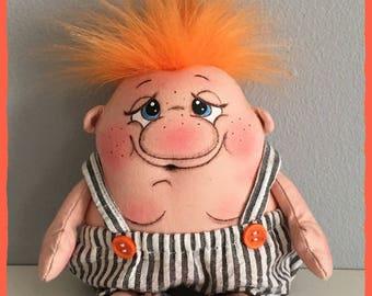 "OOAK Artist Miniature Cloth Pocket CHUBBA WUBBA Rag Doll ""Charlie"" only 6"" high!"