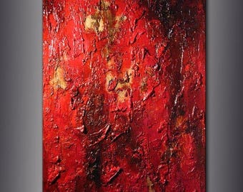 Original Huge Red Textured Abstract Painting Contemporary Modern Wall art by Henry Parsinia Large 48x36