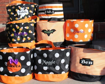 Personalized Embroidered Halloween Bucket Personalized halloween basket Trick or Treat bag  halloween bag Halloween Bucket bag basket
