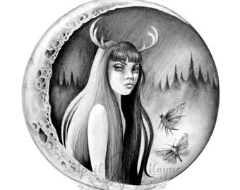 Moon babe- deer- Black and white-forest -signed print- woman- portrait- antler-moths- moon- pencil- tattoo art