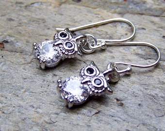 Silver Owl Earrings Small Tiny Cute Little Owl Jewelry Sterling Silver