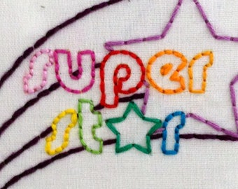 Super Star Seventies Style Embroidery Pattern, DIY Hoop Art, PDF Pattern, Instant Download