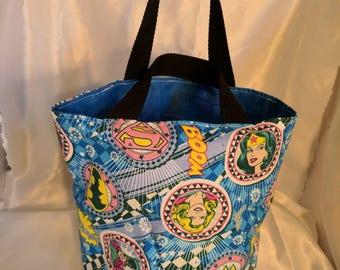 Wonder woman Supergirl Batgirl small (kid-sized) tote bag/ toy bag/trick or treat bag