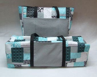Teal, Black, Gray, White Patchwork Cricut Carrying Case /Silhouette Cameo 3 / Cricut Maker/ Cricut Explore/ Brother ScanNCut / Accessory Bag