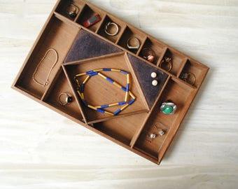 Vintage Wood Jewelry Box Tray