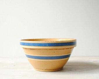 Vintage Yellow Ware Bowl, Ceramic Bowl, Pottery Bowl, Striped Bowl, Primitive Bowl, Farmhouse Bowl, Shabby Chic Bowl, Antique Bowl