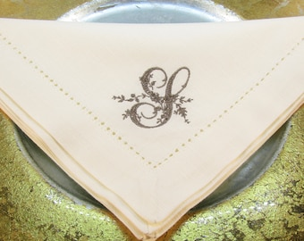 Six  Monogrammed Cotton Hemstitched  Napkins  in the Stacy Font