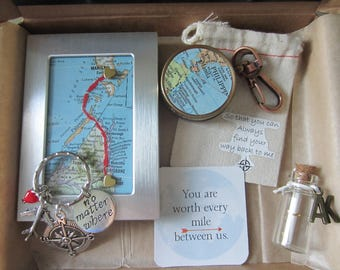 Long Distance Gift Personalized Care Package Custom Maps Frame No Matter Where