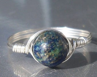 25% Off Sale Lg Chrysocolla Azurite Ring Argentium Sterling Silver Wire Wrapped Gemstone Ring