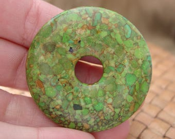 "SALE:  45mm Mosaic ""Turquoise"" Donut Focal Bead (Dyed Green, Assembled Magnesite and Resin) - 10% Off"