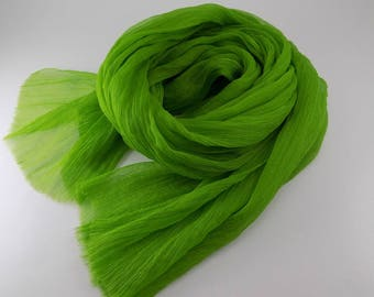 Handmade Silk Scarf --- Lime Green