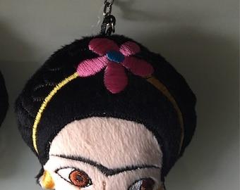 Embroidered Frida Kahlo Key Chain