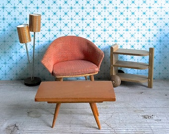 Vintage Bodo Henning Mid Century Dollhouse Furniture Chair Lamp Table Cart 4 Piece Set