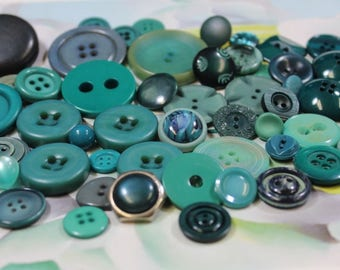 Jade Teal Plastic Buttons 52 Teal Turquoise Aqua Plastic Buttons Crafting Buttons