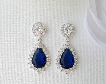 Blue Bridal Earrings, Crystal Wedding Earrings, Sapphire Blue Earrings, Something Blue Earrings, Teardrop Earrings, Wedding Jewelry, Aoi