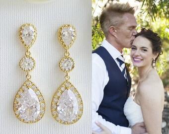 Gold Bridal Earrings Teardrop Gold Crystal Wedding Earrings Cubic Zirconia Drop Earrings Gold Bridal Jewelry, Evana