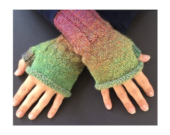 Fingerless Gloves - Hand-Knit Gloves - Women's Fingerless Gloves - Half Gloves  - Multicolor - Women's Winter Gloves - Holiday Gift