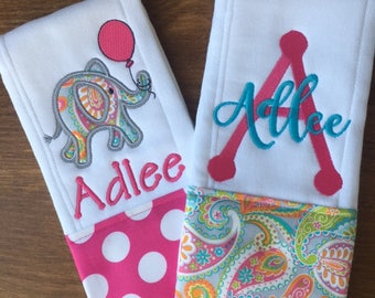 Elephant Burp Cloth Set of 2 - Personalized Burp Cloth - Baby Girl Gift - Newborn Gift Set - Pink / Paisley Cloth - Elephant Baby Gift