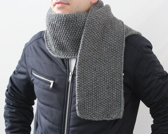 NEW Gray scarf, Mens knit scarf, Man scarf,  knitted scarf for men