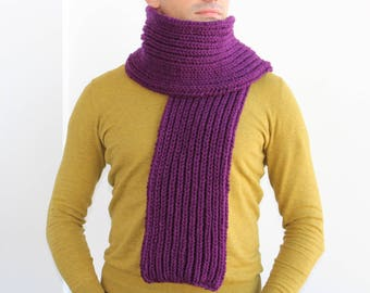 Purple  scarf, Mens knit scarf, Man scarf, Purple knit scarf for men