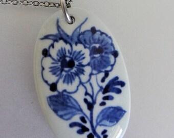 ON SALE Vintage Blue & White Delft Oval Porcelain Pendant Necklace