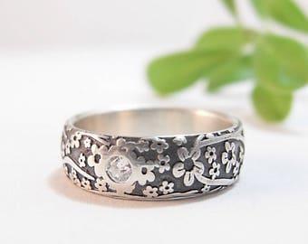 Diamond Engagement Ring Silver Wedding Ring Wedding Band Diamond Ring Moissanite Ring Cherry Blossoms Womens Wedding Band 6.25