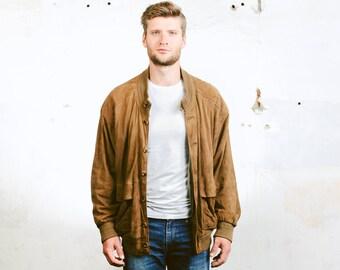 Men's Suede BOMBER Jacket . Brown Jacket Vintage  90s Grunge Coat Button Up Flight Aviator Outerwear Oversized Jacket . size Large to XL