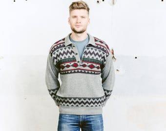 Aztec Print Sweater . Patterned Sweater Mens 90s Vintage Boyfriend Sweater Grey Wool Soft Sweater Southwestern . size Medium