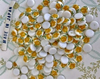 30 Limoges Cabochons,7mm cabochons,Yellow rose cabochons,Vintage Cabochons, Shabby chic cabochons,Rose Floral Cabs Flowe Lot 7mm  #54A
