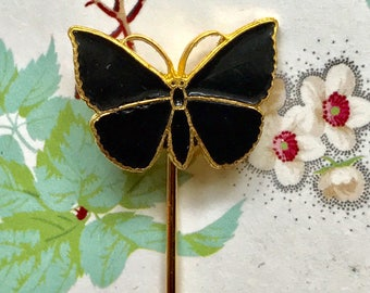 Sarah Coventry Stick Pin Enamel Butterfly Brooch Vintage New Card Enameled, black butterfly, gold plated,birthday gift, party favor  G37B