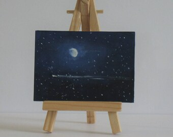 Moon and shooting star, original acrylic aceo, night sky art
