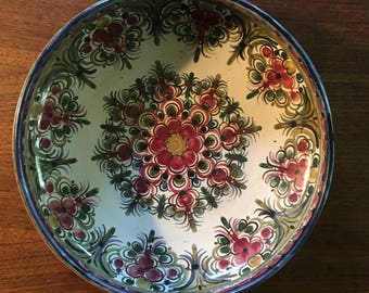 Artist One of a Kind Hand Painted Pottery Bowl • Vintage Artist Signed Bowl Platter