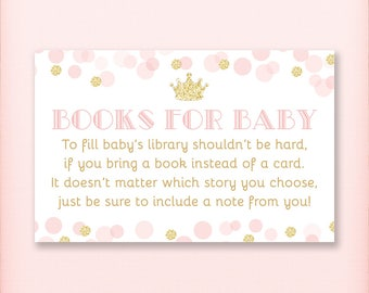 Princess Baby Shower Book Request Cards, Bring a Book Instead of a Card, Royal Pink and Gold Glitter - PRINTABLE INSTANT DOWNLOAD
