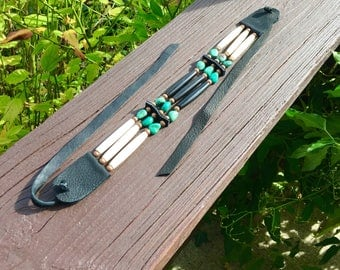 Bone and horn hair pipe choker, black and white, real turquoise beads, pow wow, tribal, copper, deerskin leather, nugget