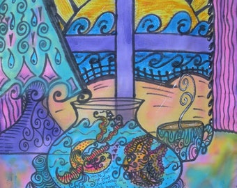 Hippie Art, Two Lost Souls Swimming In A Fish Bowl, Peace Art, Peace Love Art, Energy Artist, Feng Shui, Wedding Gift
