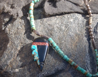 """Vintage Native American Zuni Turquoise Necklace """"Stone Face"""""""