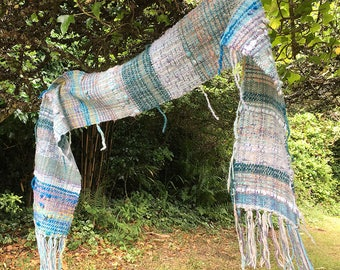 Seascape - Hand Woven Scarf in Handspun Yarn and Art Yarn, Cornwall, UK