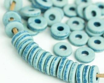 25%OFF 20 Mykonos beads Blue Jean Denim round washer 8mm Round Spacers Flat Washers Disk Greek Ceramic beads