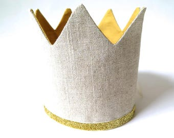 Birthday Crown for Boy - Gold and Linen - Adjustable Party Hat - Dress Up King for a Day Little Prince - Mustard Yellow Gold and Ecru Tan