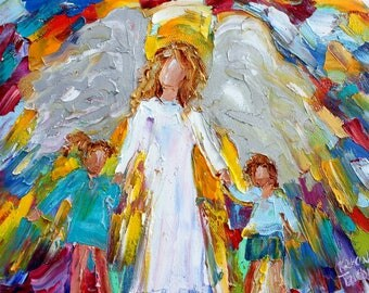 Angel with Children painting original oil abstract impressionism fine art impasto on canvas by Karen Tarlton