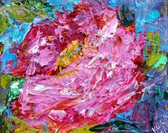 Pink Rose painting original oil 6x6 palette knife impressionism on canvas fine art by Karen Tarlton